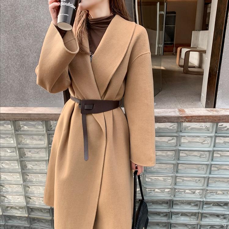 المرأة التلبيب طوق مزدوجة الوجه الصوف التفاف معطف الإناث حجم كبير شتاء دافئ فضفاض الكشمير مزيج سترة طويلة ملابس خارجية