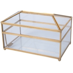Practical Gold Glass Mirror Tissue Box Exquisite Glass Makeup Tissue Storage Box Elegant Gift for Birthdays Christmas Weddings