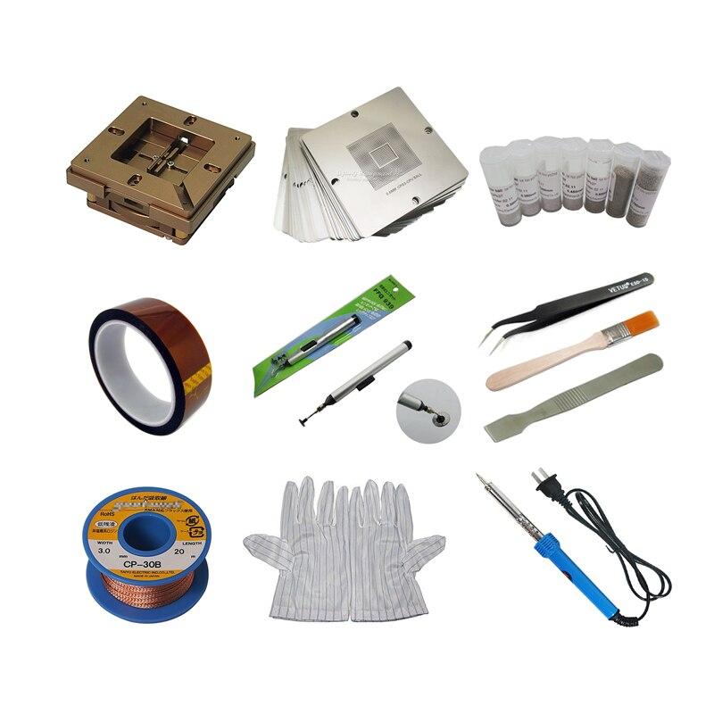 Bga Reballing Station tin Solder Ball Insulating Tape Stencils Desoldering Wick Pen ESD Tweezers Brush Scraper Glove Iron