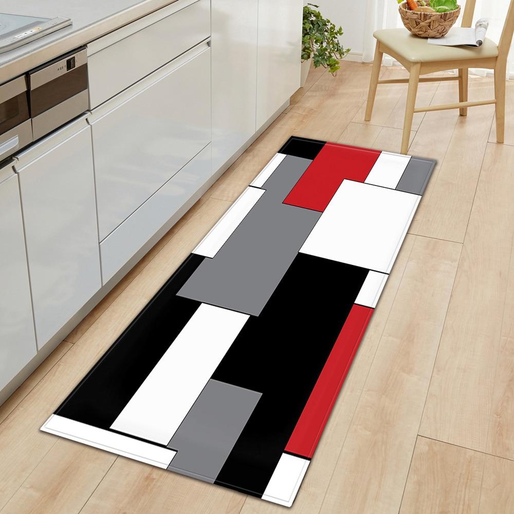 modern Kitchen Mat Long Strip Bedroom Entrance Doormat 3D Pattern Home Floor Decoration Living Room Carpet Bathroom Non-Slip Rug