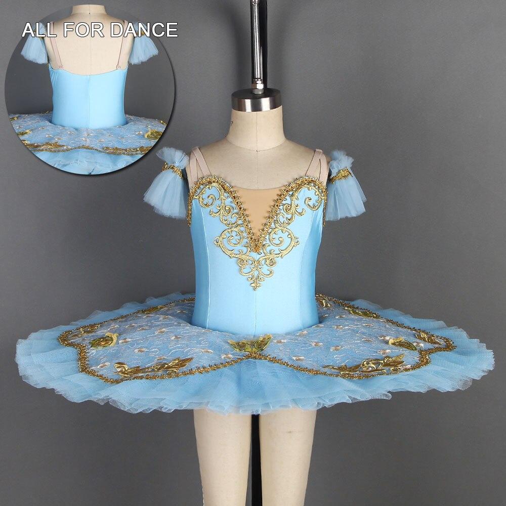 Todo para danza cielo azul LICRA oro ribete preprofesional Pancake Ballet tutú para bailarina actuación danza desgaste vestido