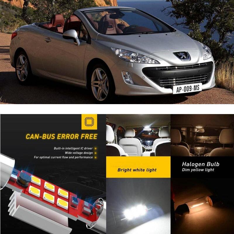 LED Interior Car Lights For Peugeot 308 cc 4b cabrio mk1 4a 4c mk2 hatchback sw mk1 4e 4h car accessories lamp bulb error free