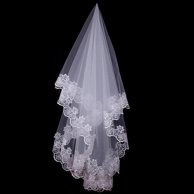 Kathedraal bruiloft witte en ivoren sluiers korte een laag - Bruiloft accessoires - Foto 2