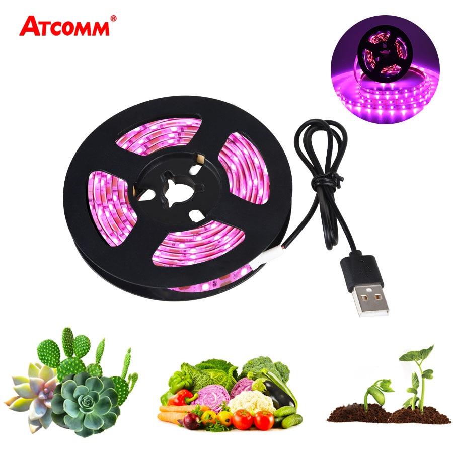 USB LED Grow Light Full Spectrum 5V 1m 2m LED Grow Phyto Lamp Strip Light For Plants Seeds Greenhouse Tent Hydroponic Grow Box