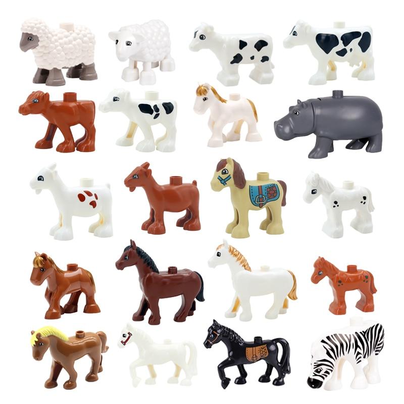 Big Building Blocks Cute Animals Accessories Cow Horse Sheep Model Compatible Duplo Farm Assemble Educational Toys For Children
