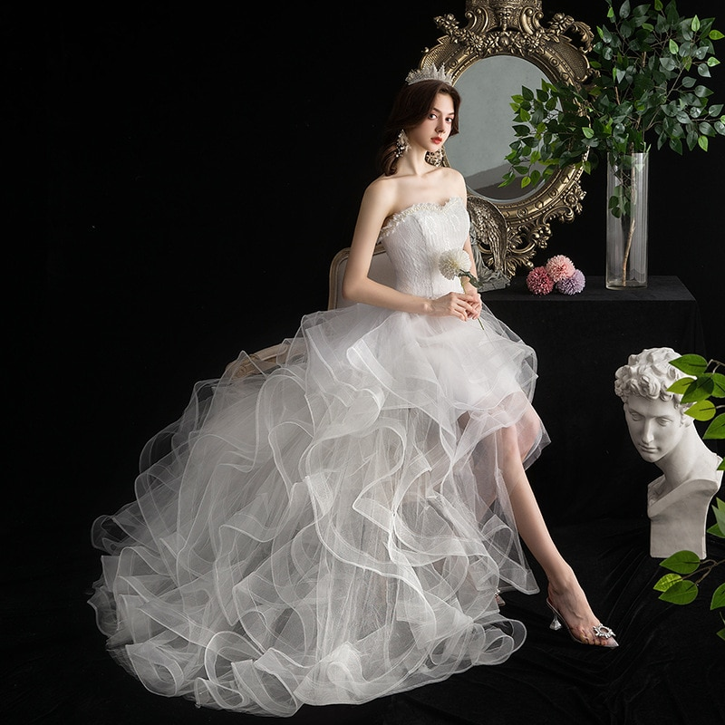Review 21 deluxe design European and American fashion short front and long back small tuxedo temperament slim cake dress wedding dress