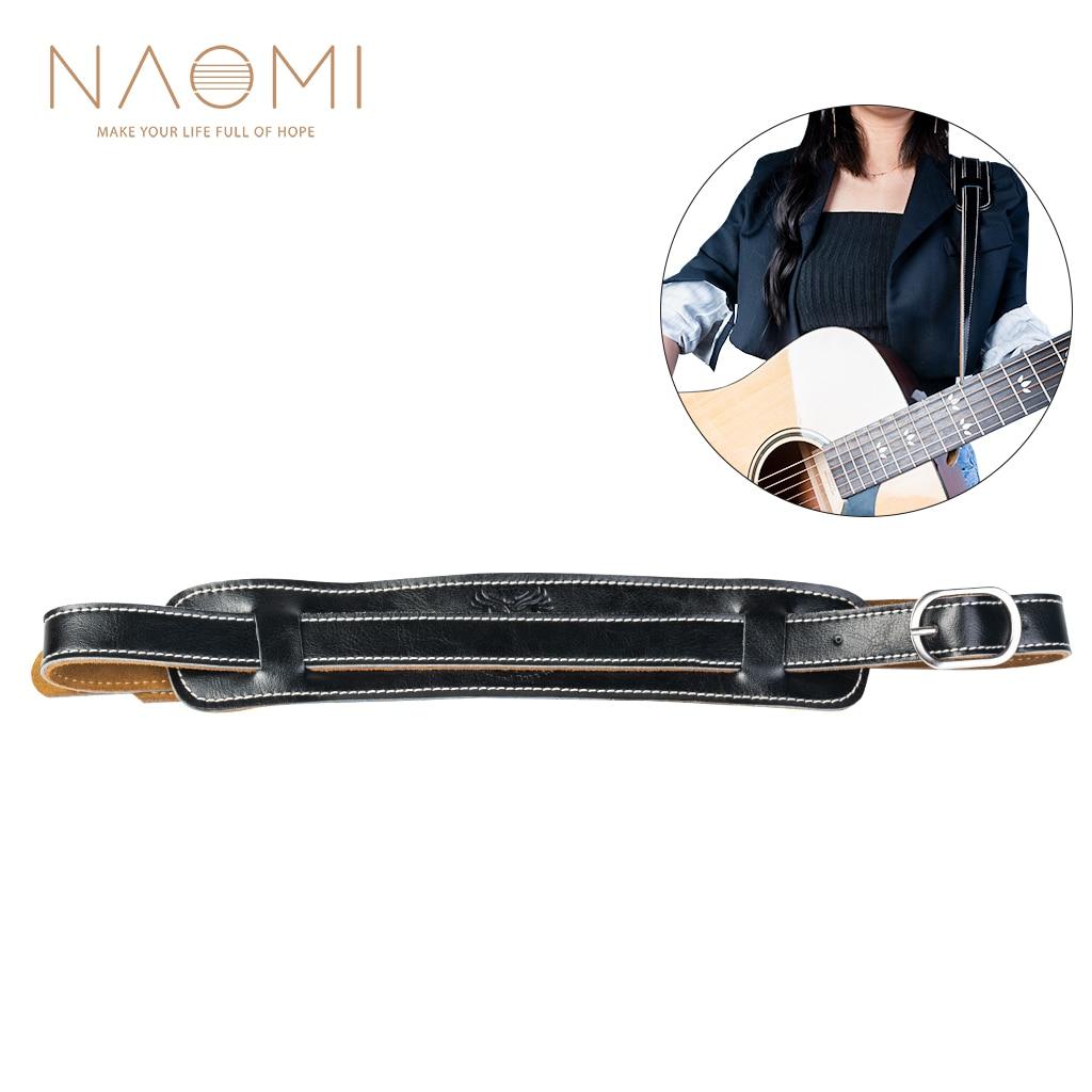 Naomi alça de guitarra elétrica couro preto alça de ombro ajustável para guitarra elétrica baixo guitarra peças acessórios novo