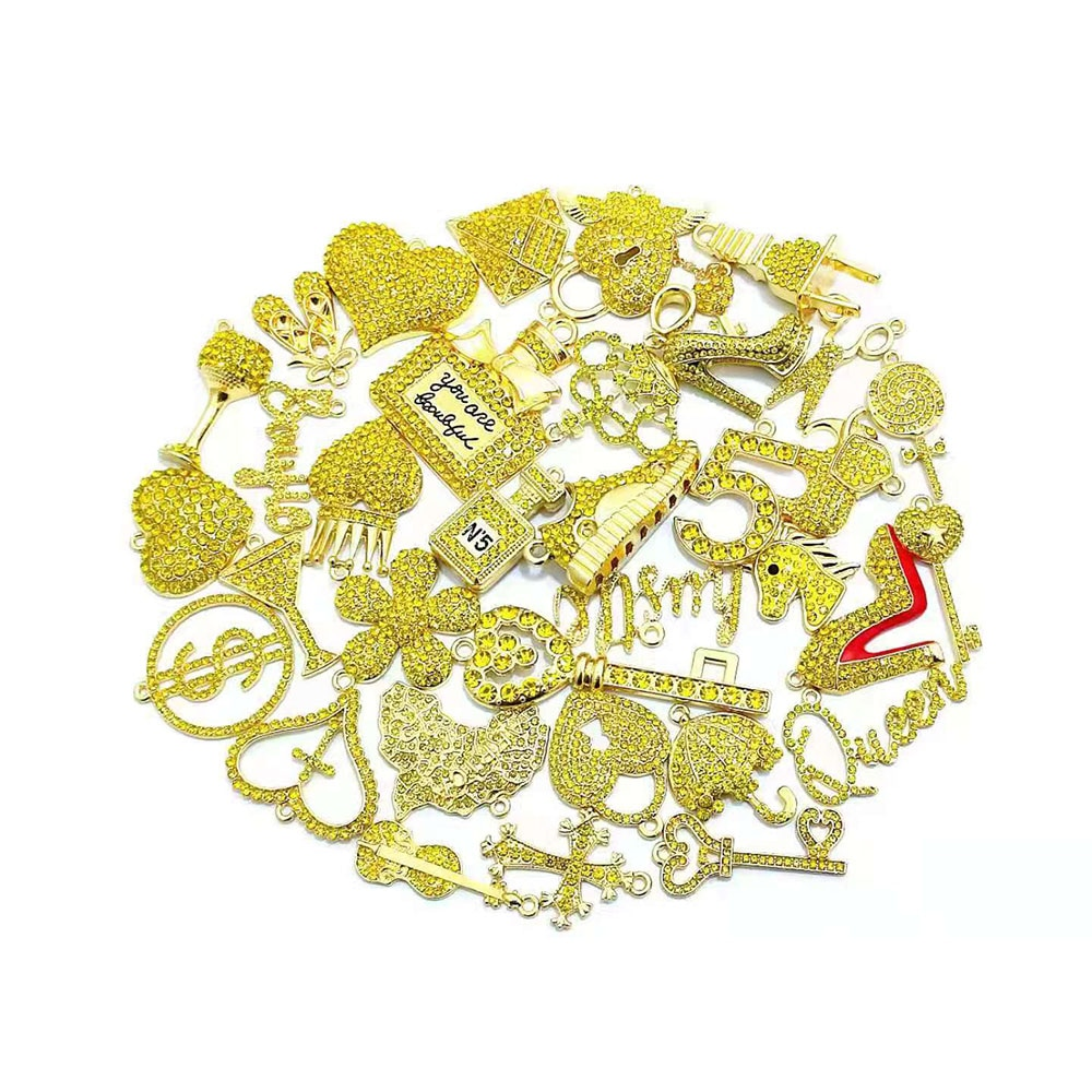 35 قطعة حجر الراين الأصفر مختلطة حساسة الفتيات Charms صالح للمرأة لتقوم بها بنفسك مجوهرات اكسسوارات N3