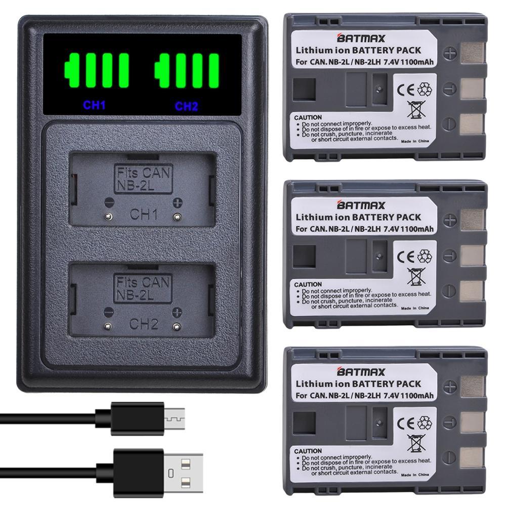 Batmax NB-2L NB-2LH NB2L Batterie + Neue LED USB Dual Ladegerät Port für Canon Rebel XT XTi 350D 400D G9 g7 S80 S70S30 L10