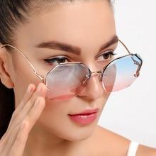 Fashion Tea Gradient Sunglasses Women Ocean Water Cut Trimmed Lens Metal Curved Temples Vintage Sun