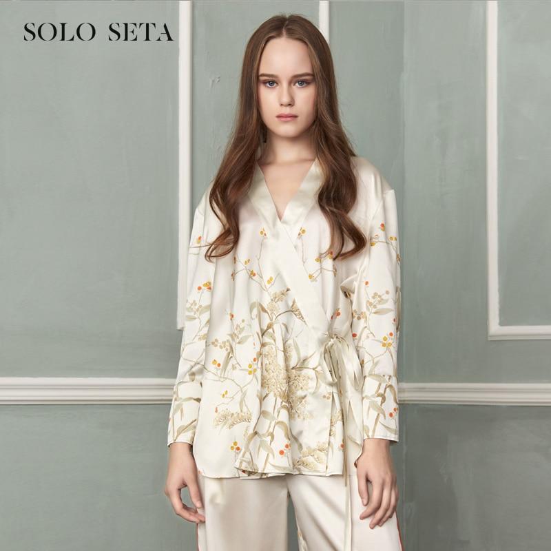 Soloseta-بيجاما حريرية ثقيلة للنساء ، بيجاما حريرية مع أربطة ، نمط Hanfu القديم ، تحسين ، تُظهر ملابس رقيقة
