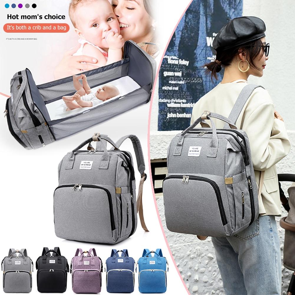 Portable Crib Nappy Bag Baby Care Changing Diaper Bag Stylish Folding Crib Nappy Bags Mummy Maternity Nappy Bag