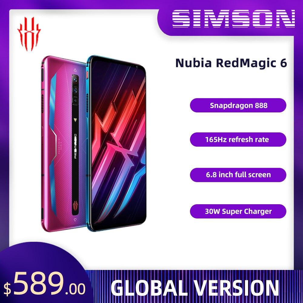 Смартфон Nubia RedMagic 6 с глобальной прошивкой, Snapdragon 888, 5G, 5050 мАч, суперзарядное устройство Google Play, 30 Вт