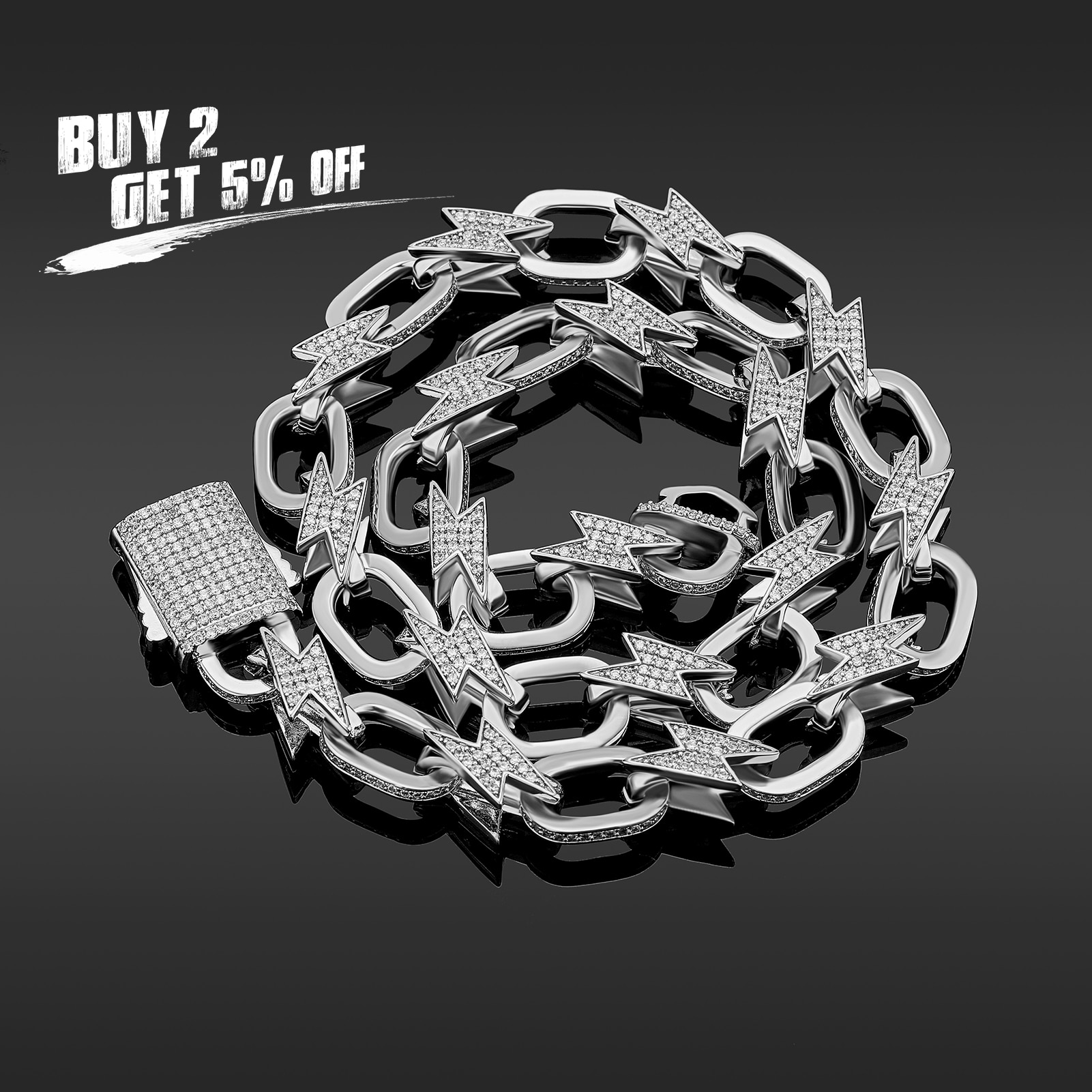 JINAO 2021 NEW Fashion Miami Spring Clasp Cuban Link Chain Lightning Necklace Charm Iced Out AAA+ Cubic Zirconia for Men Jewelry