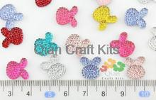 150 adet Mini Petite güzel Mix renkler kristal Bling çivili mücevher taklidi tavşan tavşan Cabochons saç Pin aksesuarları
