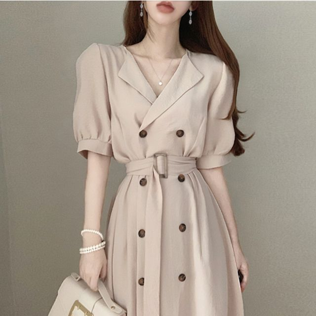 Korean Ins Retro Style Western Style Youthful-Looking French Minority Fashion Double-Breasted Waist