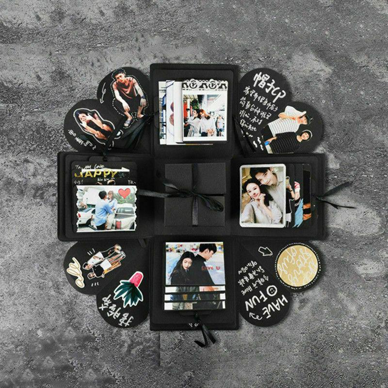 Hexagon sorpresa caja de explosión álbum de recortes DIY álbum de fotos álbum de recortes caja de regalo creativa para San Valentín boda 3D Pop Up tarjeta