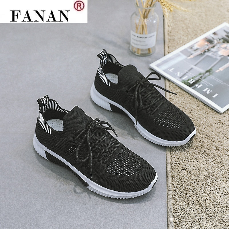 Summer Women Running Shoes Flying Woven Light Breathable Women Sneakers Sports Flats Casual Female Walking Shoes