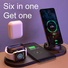 EXPUNKN Wireless Charger 6 in 1 10w Qi Fast Stand Carga Rapida Carregador Sem Fio for Iphone Apple Watch Airpods
