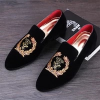 oxfords shoes man party driving flats eu size 38 45 mens fashion suede leather embroidery loafers mens casual printed moccasins