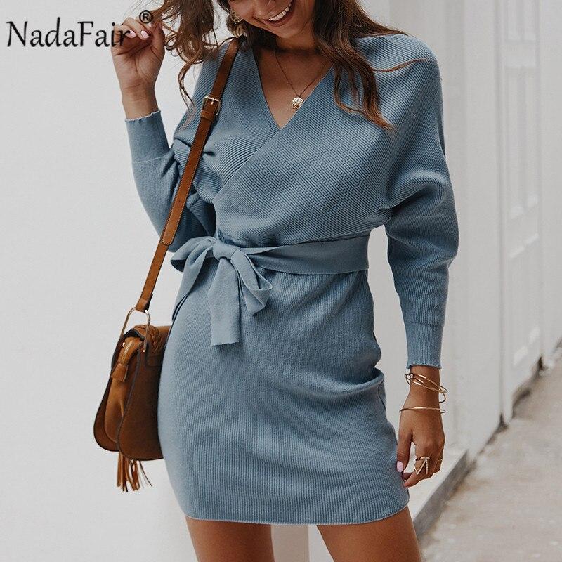 Vestido elegante de manga larga de nadadfair para mujer, vestido informal sexi con escote en V y espalda al aire, Vestido de punto cálido para invierno
