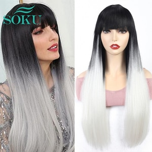 Synthetic Wig With Bangs Long Straight Wigs Ombre White Color Daily Style Hair SOKU Heat Resistant Fiber For Black Women Cosplay