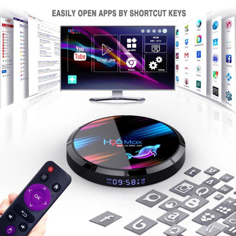 H96 ماكس X3 الذكية التلفزيون مربع S905X3 2.4G/5G المزدوج تردد Wifi BT4.0 الوسائط مجموعة أعلى مربع 4 + 32GB/64GB/128GB التلفزيون مربع ، ل الروبوت