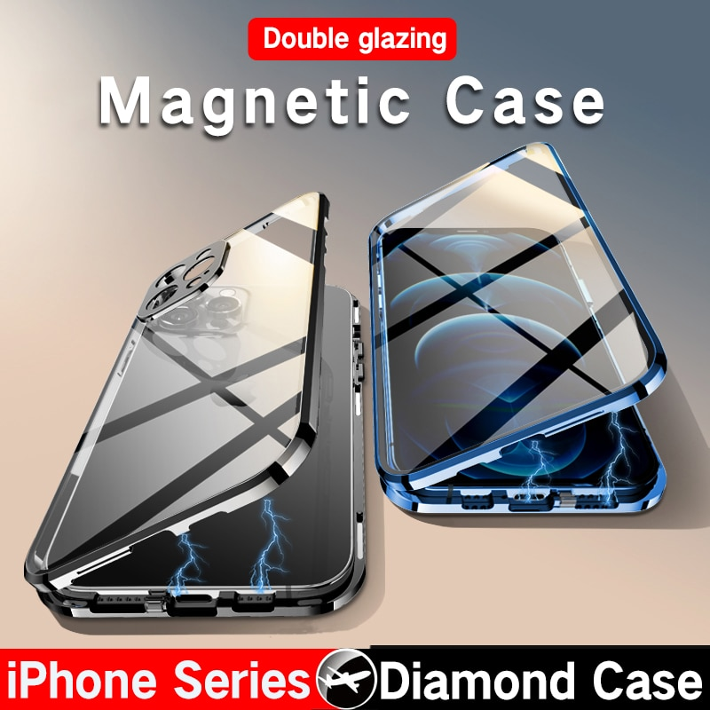 Coque de luxe en verre et métal pour iPhone, pour modèles 12, 13 Pro Max, 11 Pro Max, XR