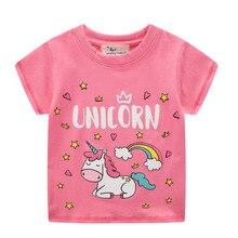 VIDMID T-Shirt manches courtes   En coton, pour enfants filles, vêtements chat Rabit papillon