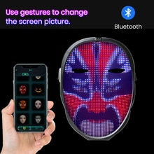 Programmable Luminous Mask LED Face Transforming Mask Led Masks with Bluetooth control for Costumes