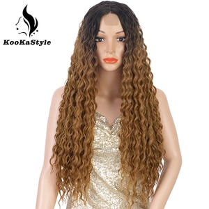 Synthetic Long Curly Wigs Afro Kinky Curly Wigs for Black Women Deep Wave Wigs Heat Resistant Half Hand Tied Cosplaly Wigs Party