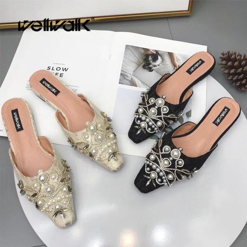 Wellwalk, zapatos de mujer con perlas ricas, cordones de verano, cuentas de zapatillas, puntiagudas, diamantes de imitación para mujer