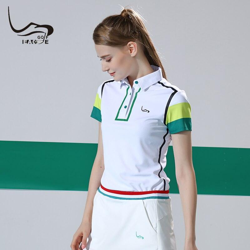 Eagegof vestuário de golfe feminino manga curta senhoras camisas de golfe verão anti-uv menina roupas esportivas moda golfe para mulher