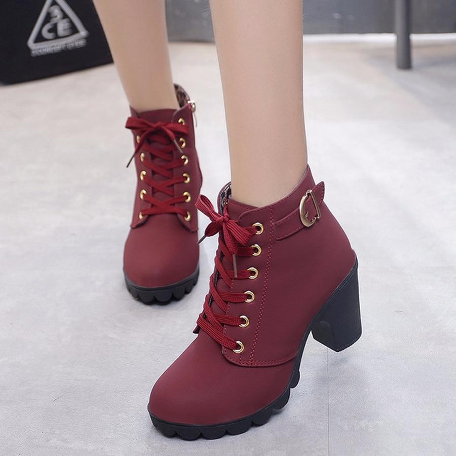 ¡Novedad de primavera-invierno! Botas de tacón para mujer, zapatos de señora europeos con cordones de alta calidad, zapatos de taco en PU, botas, envío rápido erf5