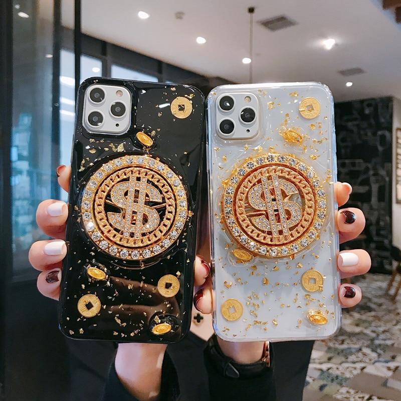 Funda de silicona de lujo para teléfono con rotación de gravedad de hoja dorada para iPhone 11 pro X XR XS Max 7 8 Plus, funda trasera suave anticaída Fortune