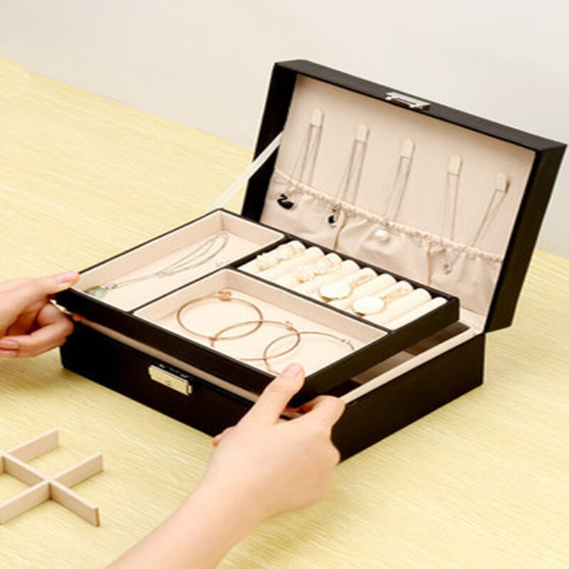European Style Jewelry Box Travel Storage Box Jewelry Earrings Leather Flannel Storage Bag Watch Box Craft Tool Accessories