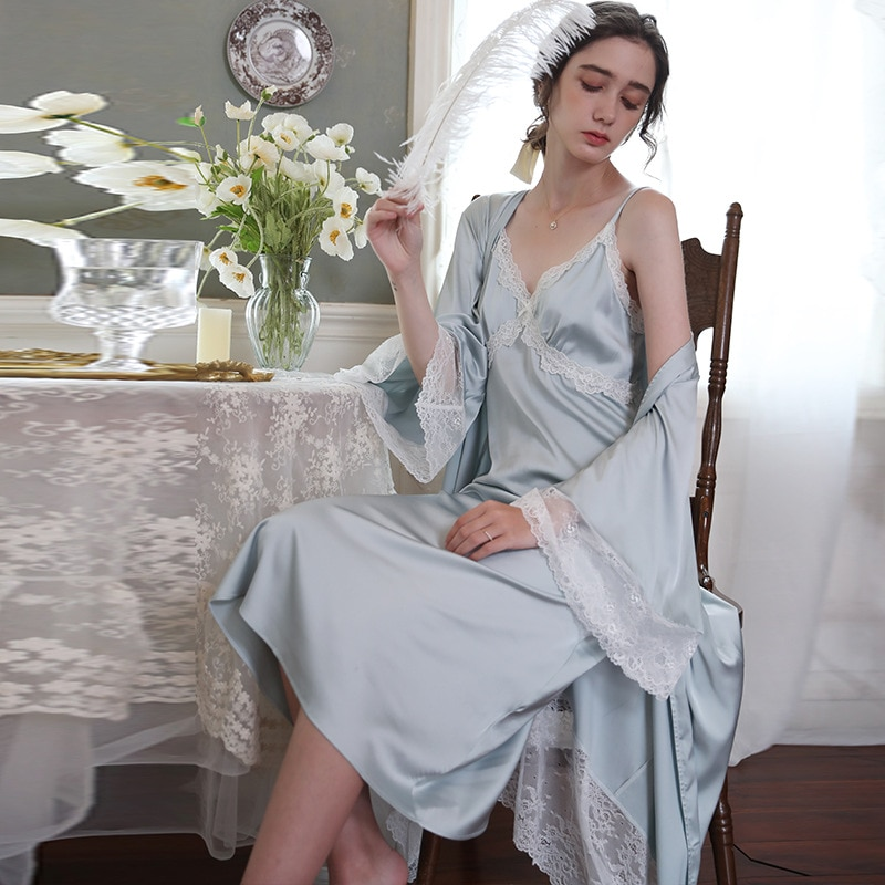 Women's Two-Piece Pajamas Sexy Spring and Autumn Ice Silk Long Sleeve Lace Slip Nightdress Mid-Length Summer Thin Homewear