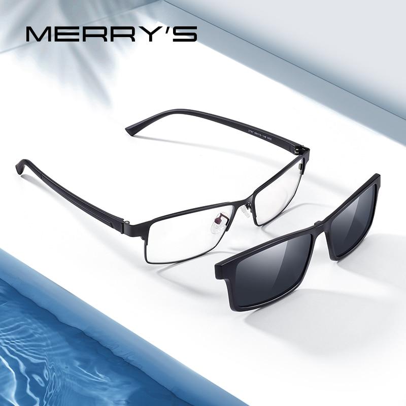 تصميم MERRYS نظارات 2 في 1 بإطار مشبك مستقطب مغناطيسي نظارات رجالية لقصر النظر البصرية نظارات للرجال إطار نظارات TR90 S2728