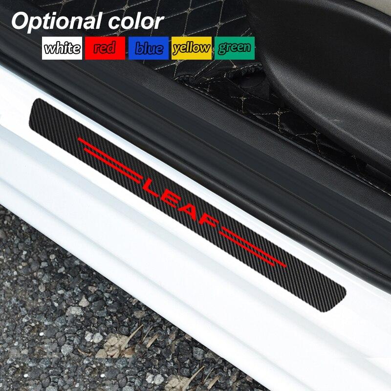 4 pièces décoration éraflure plaque seuil de porte en fibre de carbone autocollant voiture accessoires pour Nissan Leaf Qashqai j10 j11 x Trail t32 t31 Tiida