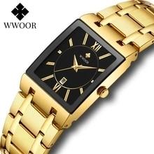 WWOOR 2021 New Top Brand Luxury Gold Black Men Watch Business Quartz Waterproof Calendar Fashion Wri