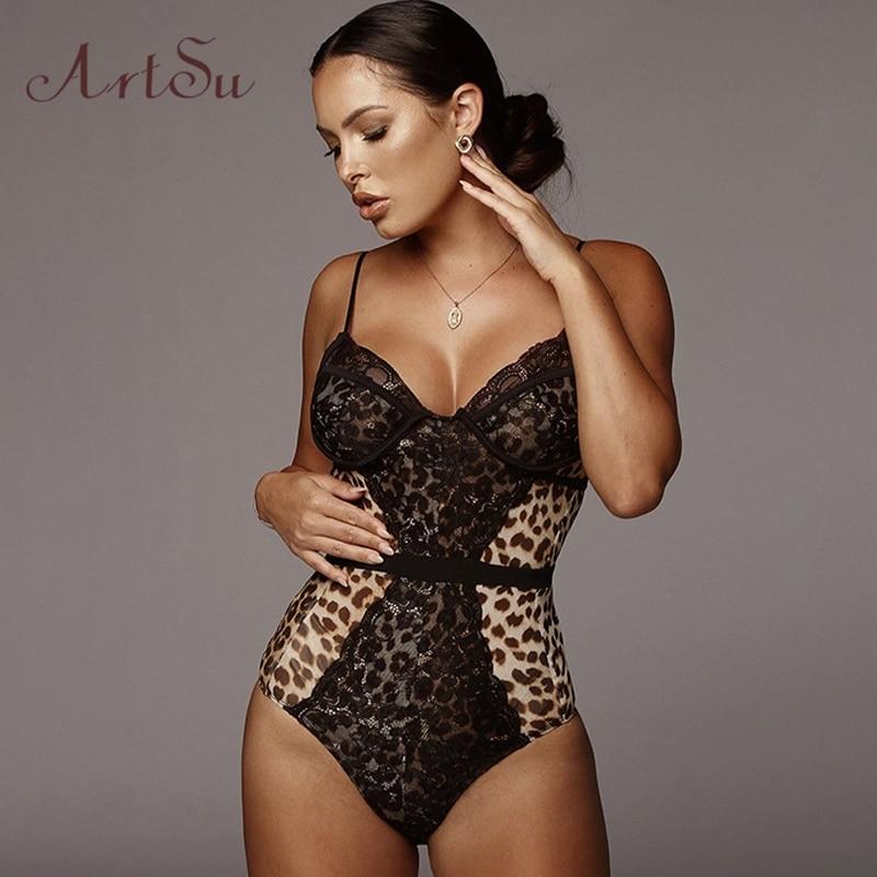 ArtSu Leopard bodis estampados mujer Sexy encaje Patchwork Bodysuit Lencería correas sin mangas Catsuit otoño Outfits ASJU60546