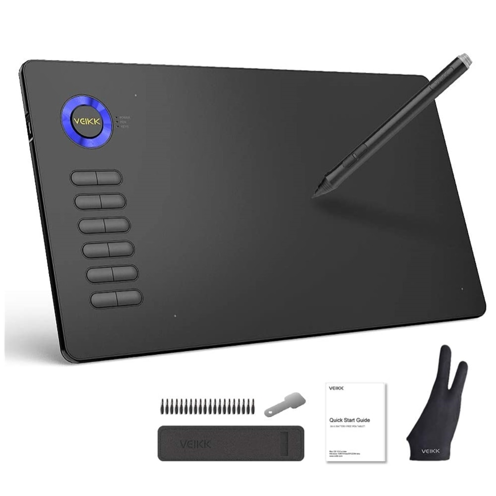 Electromagnetic Digitizer Drawing Tablet VEIKK A15 10x6 inch Graphic Pen Tablet with Battery-Free Stylus and 12 Shortcut Keys