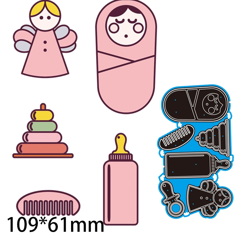 Cutting Dies Comb Bottle Baby Decorate DIY Scrap Booking Photo Album Embossing Paper Cards 109*61mm