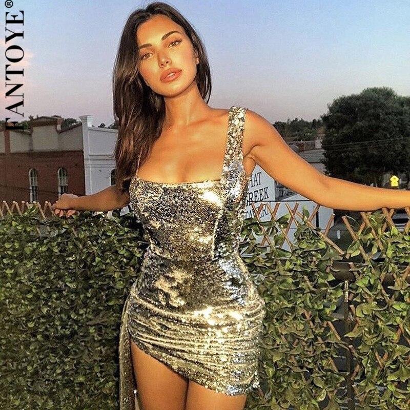 Fantoye outono novas lantejoulas glitter vestido 2019 mulheres sem mangas festa à noite vestido floral sexy drapeado bodycon clube mini vestidos