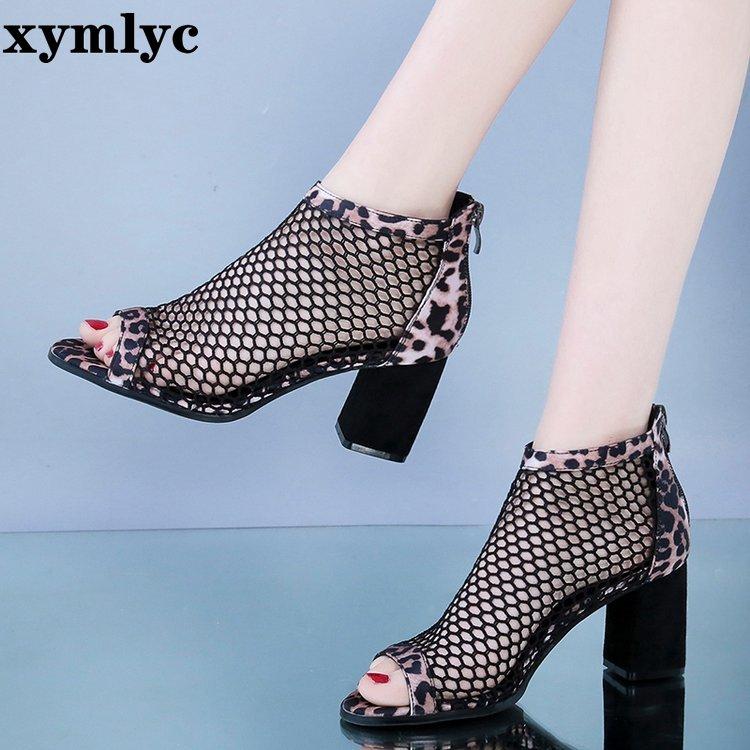 2020 new summer  High heels Thick-heeled leopard-print women's sandals  wear fashion high-heeled women's shoes mesh shoes