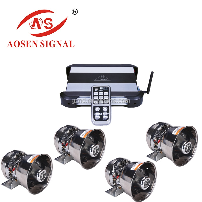 New High Power 1200W Remote Car  Siren Amplifier Speakers with MP3 Player