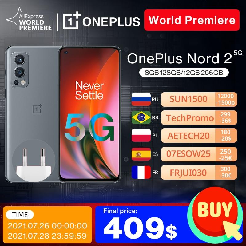 Global Version OnePlus Nord 2 5G Smartphone Dimensity 1200-AI 8GB 128GB 50MP AI Camera Warp Charge 65 90Hz Fluid AMOLED Display