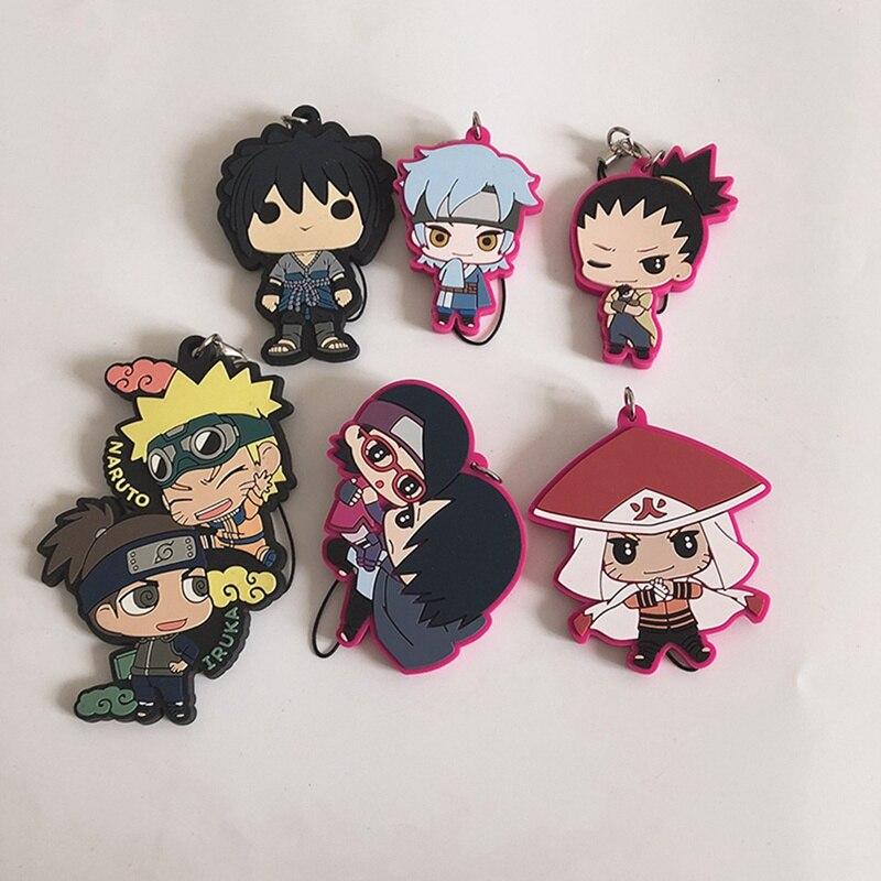 Naruto Anime japonés Sasuke Uchiha llavero correa de goma teléfono encanto llavero regalo