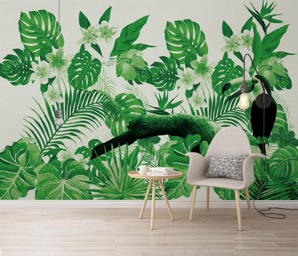 Обои на заказ, тропические растения, фоновые обои с попугаями, обои для спальни, фотообои 3d, обои для стены