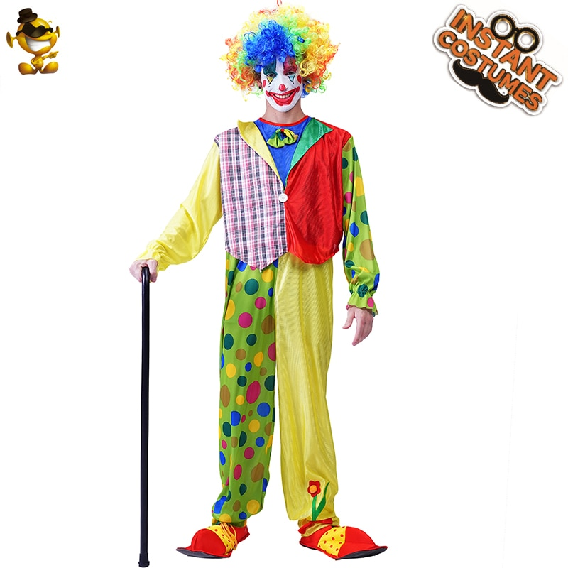 free shipping halloween children s clown costume masquerade performance clothing stage circus clown comedy costume boy cosplay Halloween Costume for Man Funny Clown Uniform Role Play Colorful Circus Clothing Fancy Dress Adult Costume